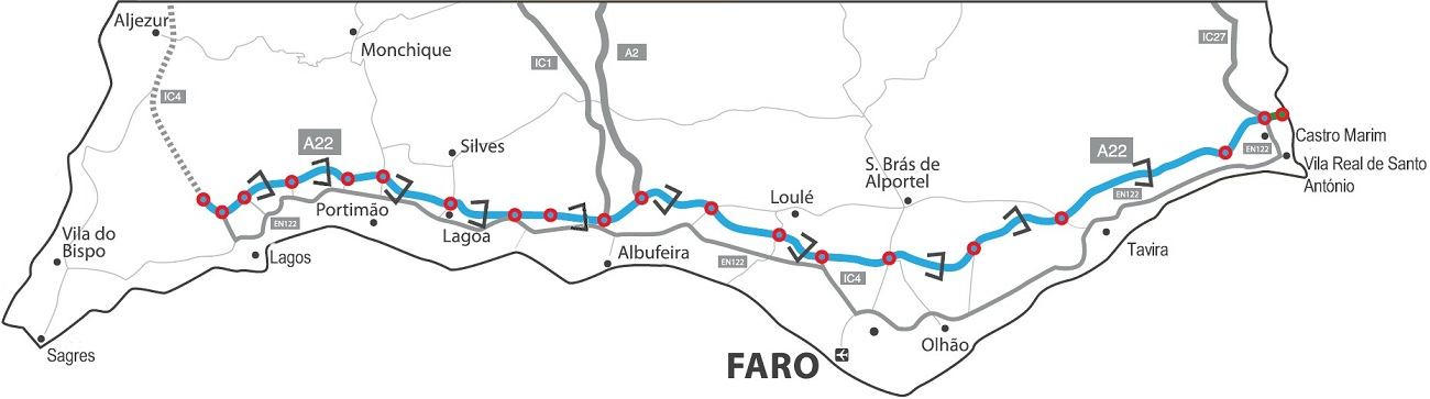 AlgarveHow To Handle The Toll Road - Portugal motorway map